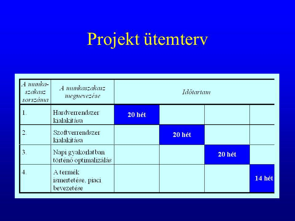 Első munkaszakasz – a hardverrendszer kialakítása Nyíregyháza –100 Mbit/sec háló –0,5 Tbyte server-tárolókapacitás –3 postproc munkaállomás Kistarcsa –100 Mbit/sec háló –0,5 Tbyte server-tárolókapacitás –2 bridge (Hitachi Airis – net; Hitachi Radix - net) –2 postproc munkaállomás Dicom protokollok optimalizálása