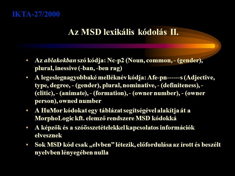 Az MSD lexikális kódolás I.