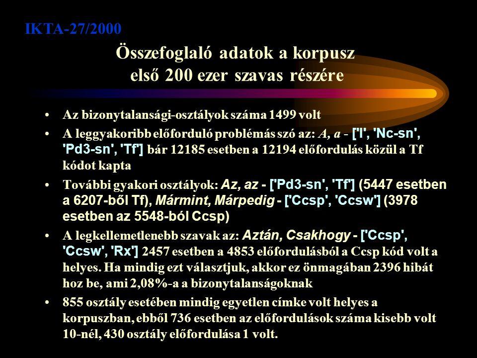 Az egyértelműsítő program IKTA-27/2000