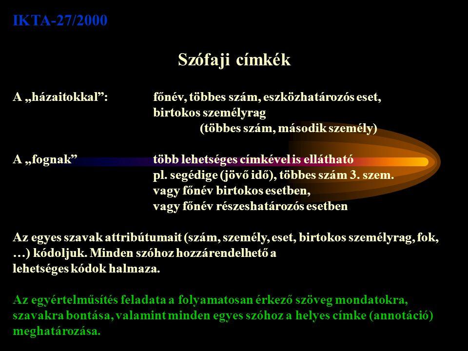 IKTA-27/2000 Közreműködők SZTE Informatikai Tanszékcsoport: Alexin Zoltán e-mail: alexin@inf.u-szeged.hualexin@inf.u-szeged.hu Bibok Károly e-mail: lbibok@lit.u-szeged.hu Csirik János e-mail: csirik@inf.u-szeged.hu Gyimóthy Tibor (kordinátor) e-mail: gyimi@inf.u-szeged.hugyimi@inf.u-szeged.hu + 25 fő nyelvész hallgató MorphoLogic kft.: Prószéky Gábor e-mail: proszeky@morphologic.hu Tihanyi László e-mail: tihanyi@morphologic.hu