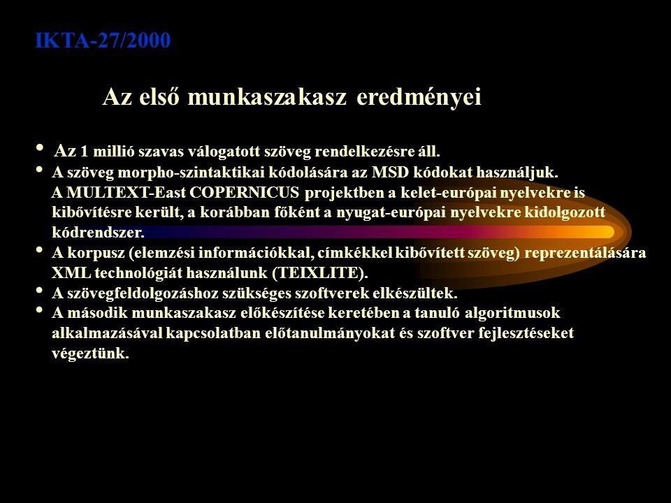 IKTA-27/2000 Az első munkaszakasz eredményei Az 1 millió szavas válogatott szöveg rendelkezésre áll.