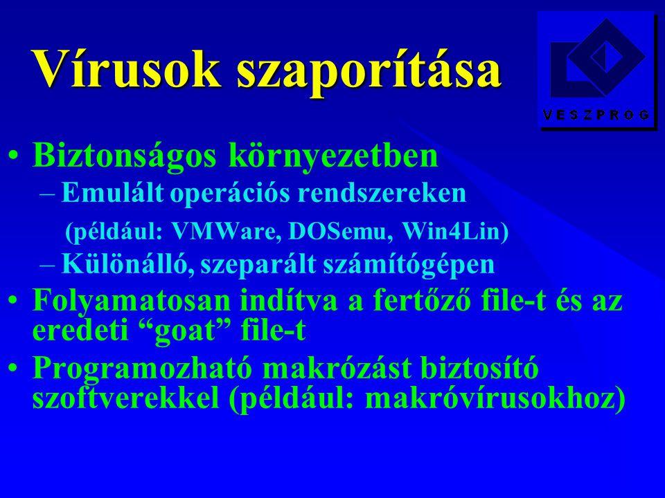 Vírusok szaporítása Biztonságos környezetben –Emulált operációs rendszereken (például: VMWare, DOSemu, Win4Lin) –Különálló, szeparált számítógépen Folyamatosan indítva a fertőző file-t és az eredeti goat file-t Programozható makrózást biztosító szoftverekkel (például: makróvírusokhoz)