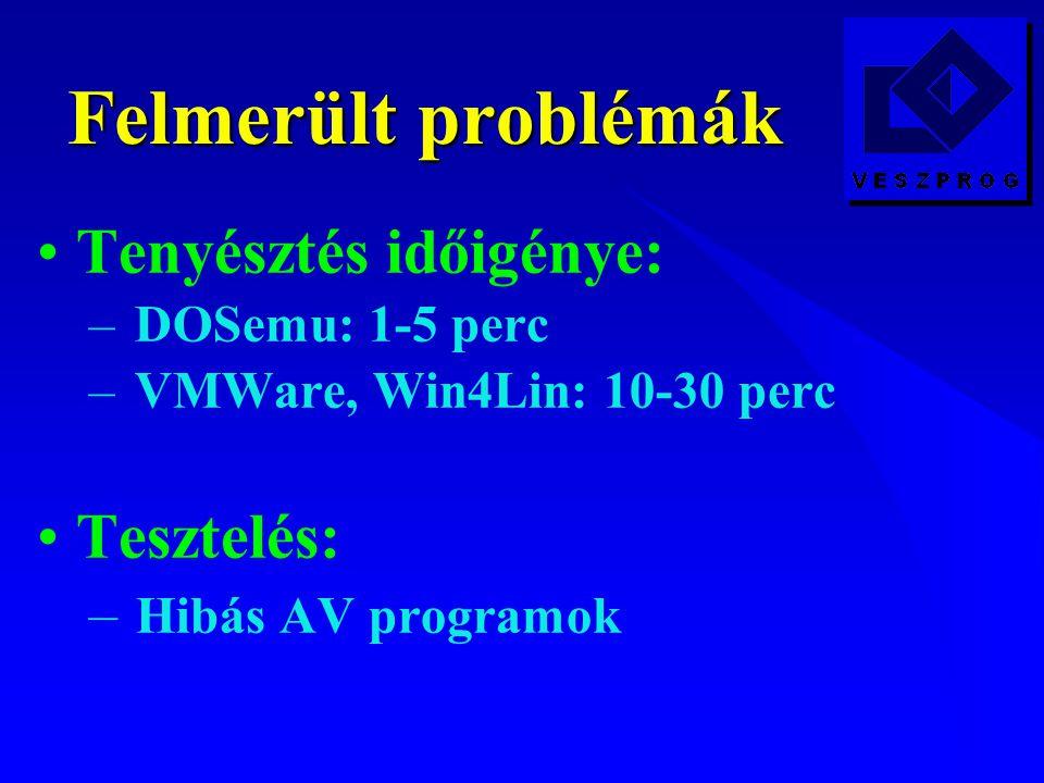 Felmerült problémák Tenyésztés időigénye: – DOSemu: 1-5 perc – VMWare, Win4Lin: 10-30 perc Tesztelés: – Hibás AV programok