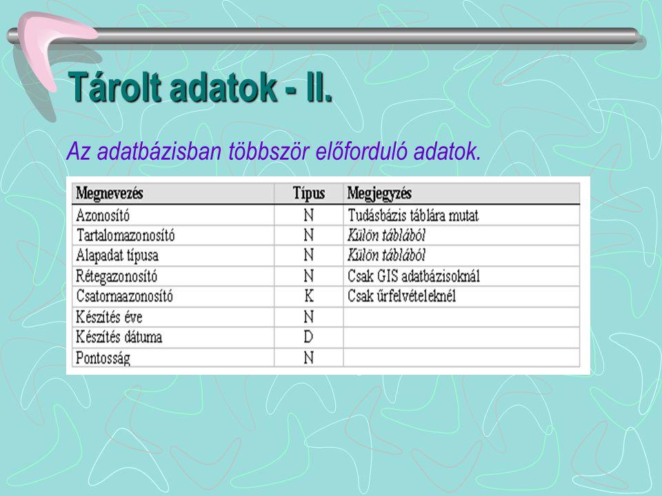 Tárolt adatok - II. Az adatbázisban többször előforduló adatok.