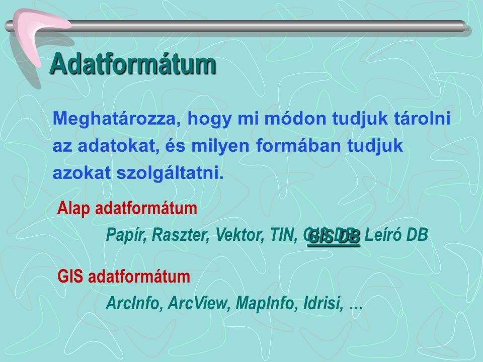 Adatformátum Meghatározza, hogy mi módon tudjuk tárolni az adatokat, és milyen formában tudjuk azokat szolgáltatni.