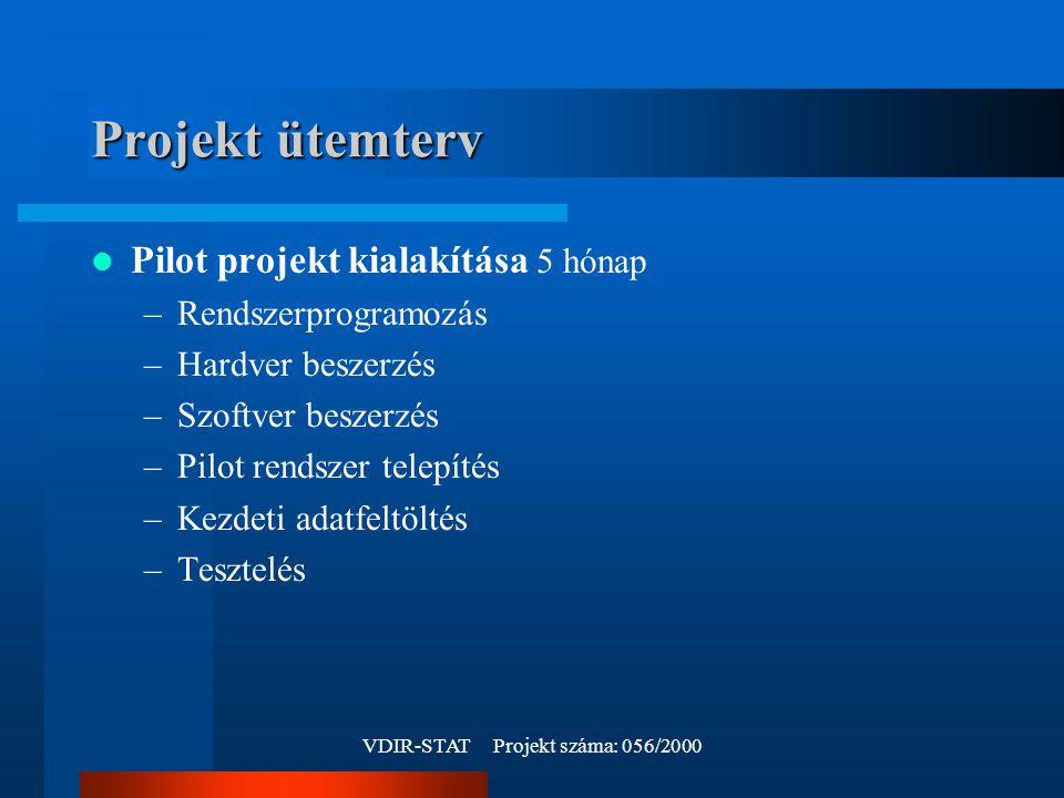 VDIR-STAT Projekt száma: 056/2000 Projekt ütemterv Pilot projekt kialakítása 5 hónap –Rendszerprogramozás –Hardver beszerzés –Szoftver beszerzés –Pilot rendszer telepítés –Kezdeti adatfeltöltés –Tesztelés