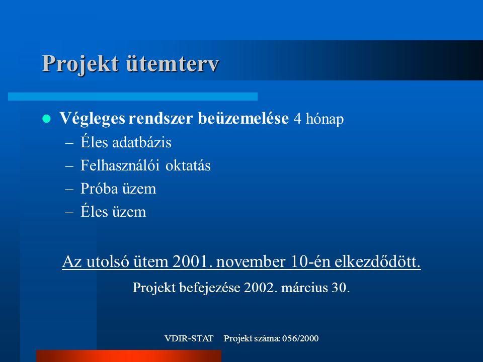 VDIR-STAT Projekt száma: 056/2000 Projekt ütemterv Végleges rendszer beüzemelése 4 hónap –Éles adatbázis –Felhasználói oktatás –Próba üzem –Éles üzem Az utolsó ütem 2001.