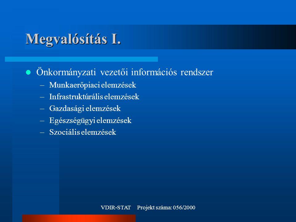 VDIR-STAT Projekt száma: 056/2000 Megvalósítás I.