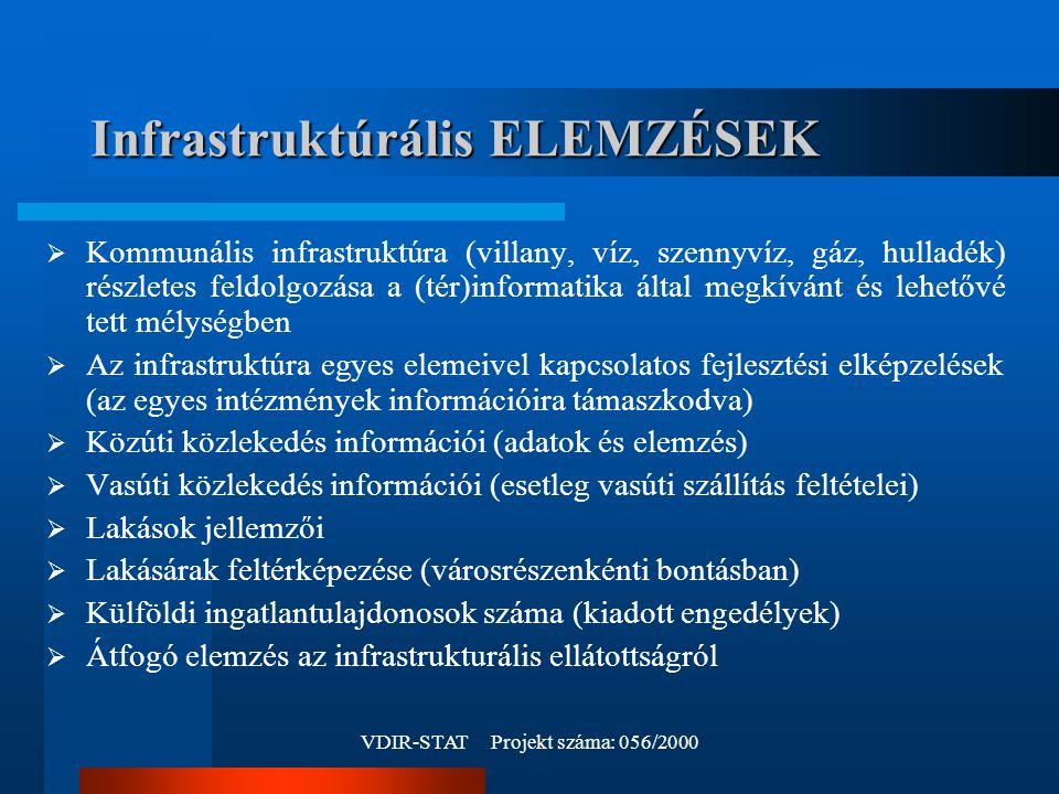 VDIR-STAT Projekt száma: 056/2000 Infrastruktúrális ELEMZÉSEK  Kommunális infrastruktúra (villany, víz, szennyvíz, gáz, hulladék) részletes feldolgozása a (tér)informatika által megkívánt és lehetővé tett mélységben  Az infrastruktúra egyes elemeivel kapcsolatos fejlesztési elképzelések (az egyes intézmények információira támaszkodva)  Közúti közlekedés információi (adatok és elemzés)  Vasúti közlekedés információi (esetleg vasúti szállítás feltételei)  Lakások jellemzői  Lakásárak feltérképezése (városrészenkénti bontásban)  Külföldi ingatlantulajdonosok száma (kiadott engedélyek)  Átfogó elemzés az infrastrukturális ellátottságról