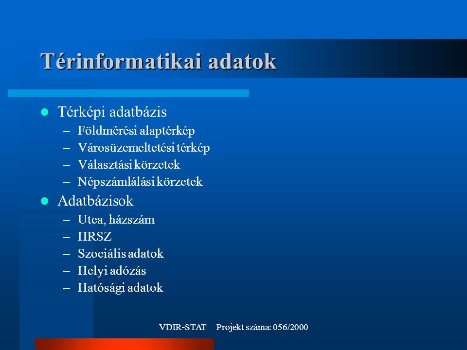 VDIR-STAT Projekt száma: 056/2000 Térinformatikai adatok Térképi adatbázis –Földmérési alaptérkép –Városüzemeltetési térkép –Választási körzetek –Népszámlálási körzetek Adatbázisok –Utca, házszám –HRSZ –Szociális adatok –Helyi adózás –Hatósági adatok