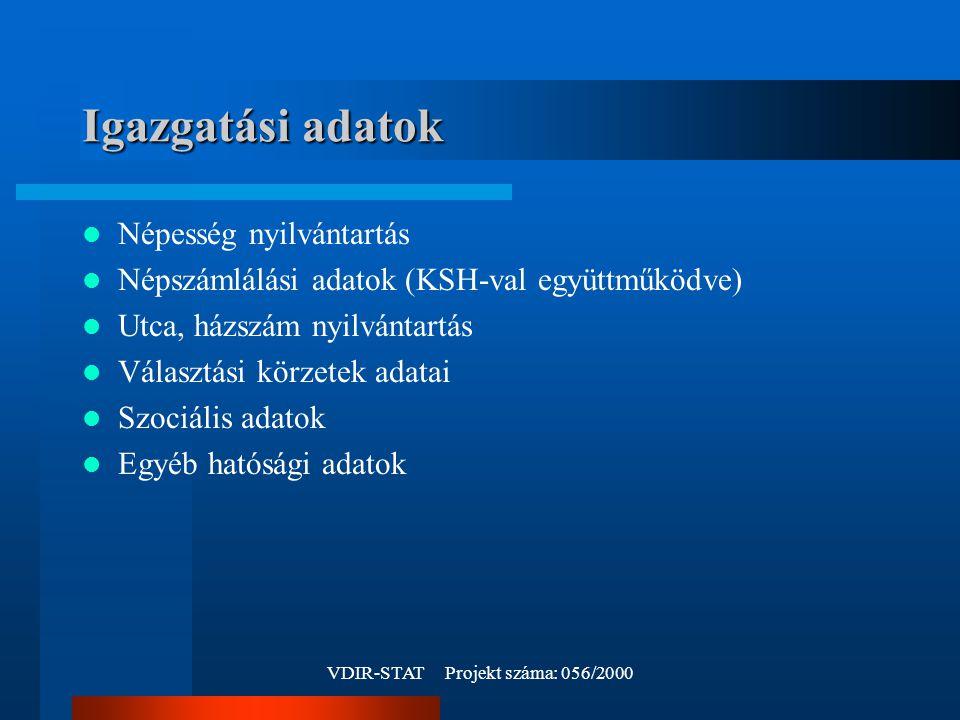 VDIR-STAT Projekt száma: 056/2000 Igazgatási adatok Népesség nyilvántartás Népszámlálási adatok (KSH-val együttműködve) Utca, házszám nyilvántartás Választási körzetek adatai Szociális adatok Egyéb hatósági adatok