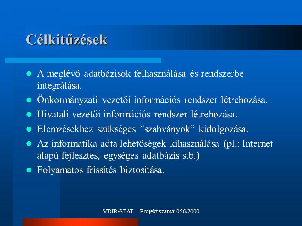 VDIR-STAT Projekt száma: 056/2000 Célkitűzések A meglévő adatbázisok felhasználása és rendszerbe integrálása.