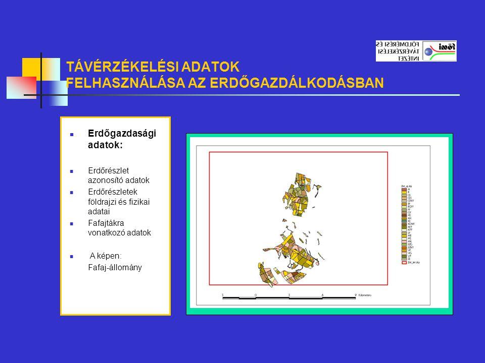 TÁVÉRZÉKELÉSI ADATOK FELHASZNÁLÁSA AZ ERDŐGAZDÁLKODÁSBAN Erdőgazdasági adatok: Erdőrészlet azonosító adatok Erdőrészletek földrajzi és fizikai adatai