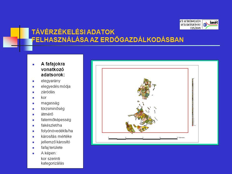 TÁVÉRZÉKELÉSI ADATOK FELHASZNÁLÁSA AZ ERDŐGAZDÁLKODÁSBAN A fafajokra vonatkozó adatsorok: elegyarány elegyedés módja záródás kor magasság törzsminőség