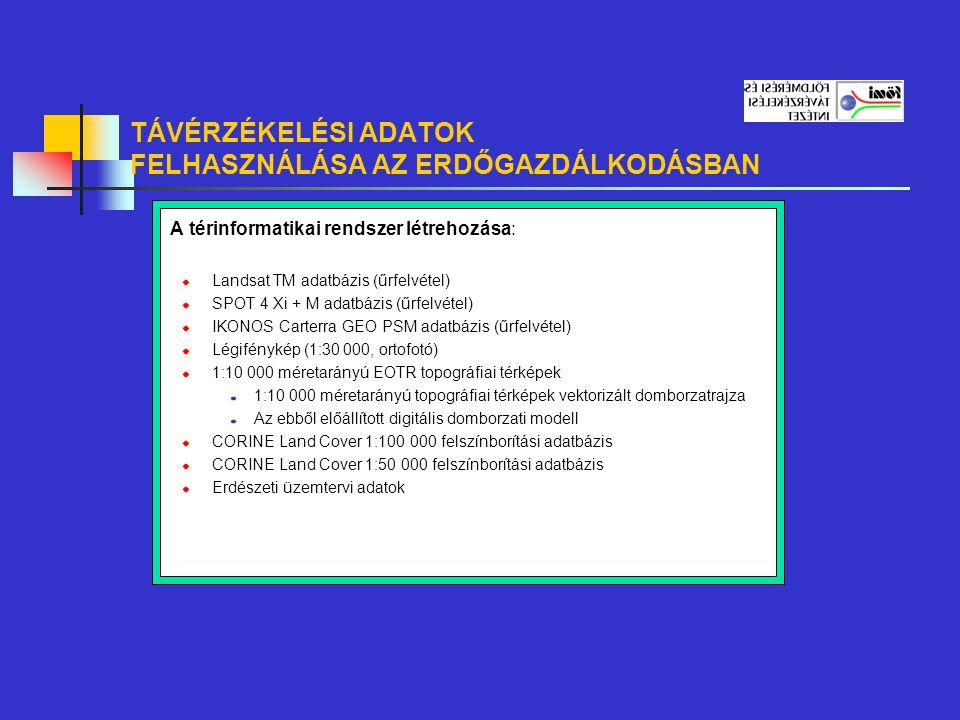 TÁVÉRZÉKELÉSI ADATOK FELHASZNÁLÁSA AZ ERDŐGAZDÁLKODÁSBAN Landsat TM adatbázis (űrfelvétel) A felvétel időpontja: 1991.
