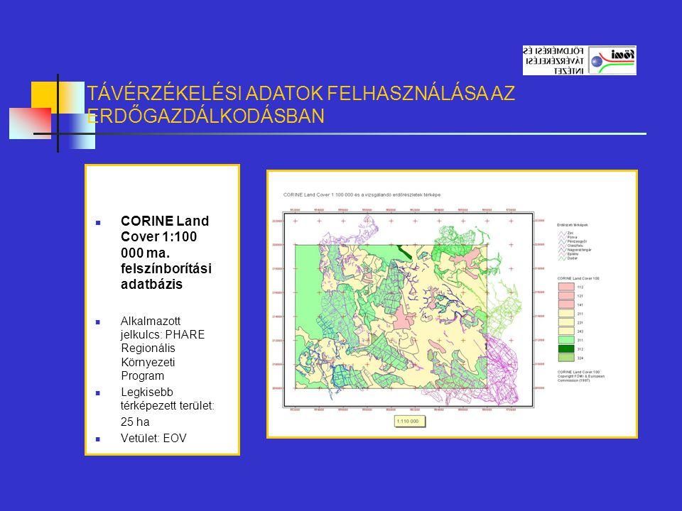CORINE Land Cover 1:100 000 ma. felszínborítási adatbázis Alkalmazott jelkulcs: PHARE Regionális Környezeti Program Legkisebb térképezett terület: 25