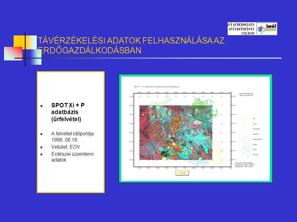 SPOT Xi + P adatbázis (űrfelvétel) A felvétel időpontja: 1998. 08.18. Vetület: EOV Erdészei üzemtervi adatok TÁVÉRZÉKELÉSI ADATOK FELHASZNÁLÁSA AZ ERD