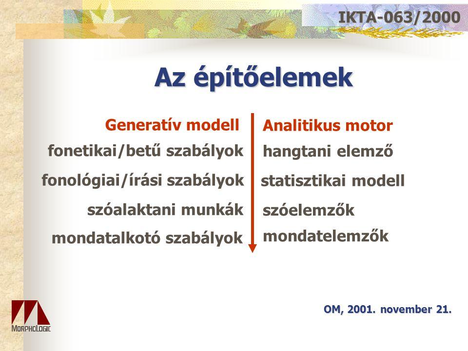 Az építőelemek IKTA-063/2000 OM, 2001. november 21. Generatív modell fonetikai/betű szabályok szóalaktani munkák mondatalkotó szabályok statisztikai m