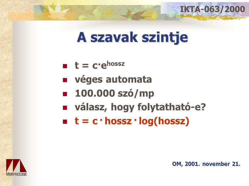 A szavak szintje t = c·e hossz véges automata 100.000 szó/mp válasz, hogy folytatható-e? t = c · hossz · log(hossz) OM, 2001. november 21. IKTA-063/20