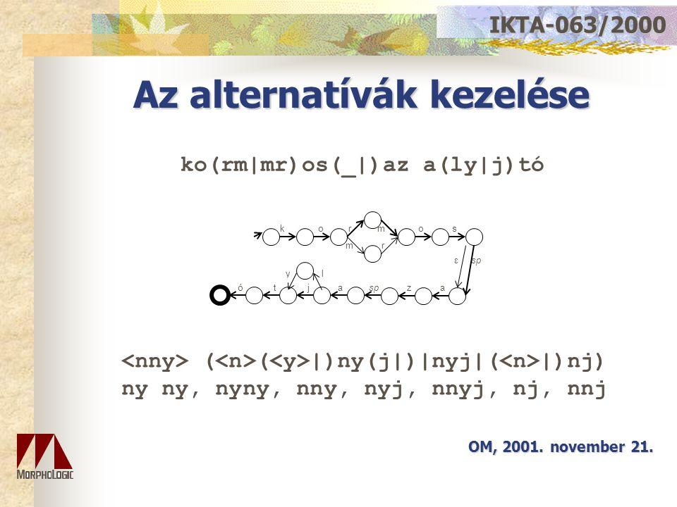 Az alternatívák kezelése OM, 2001. november 21. IKTA-063/2000 ε sp y l m r r m ó t j a sp z a o s k o ko(rm|mr)os(_|)az a(ly|j)tó ( ( |)ny(j|)|nyj|( |