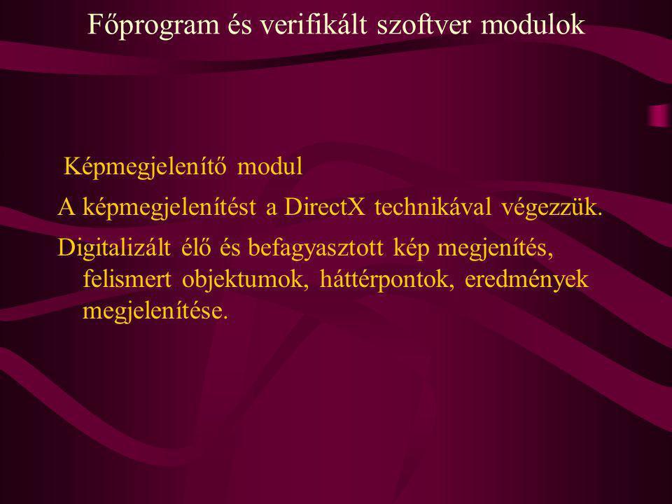 Főprogram és verifikált szoftver modulok Képmegjelenítő modul A képmegjelenítést a DirectX technikával végezzük. Digitalizált élő és befagyasztott kép