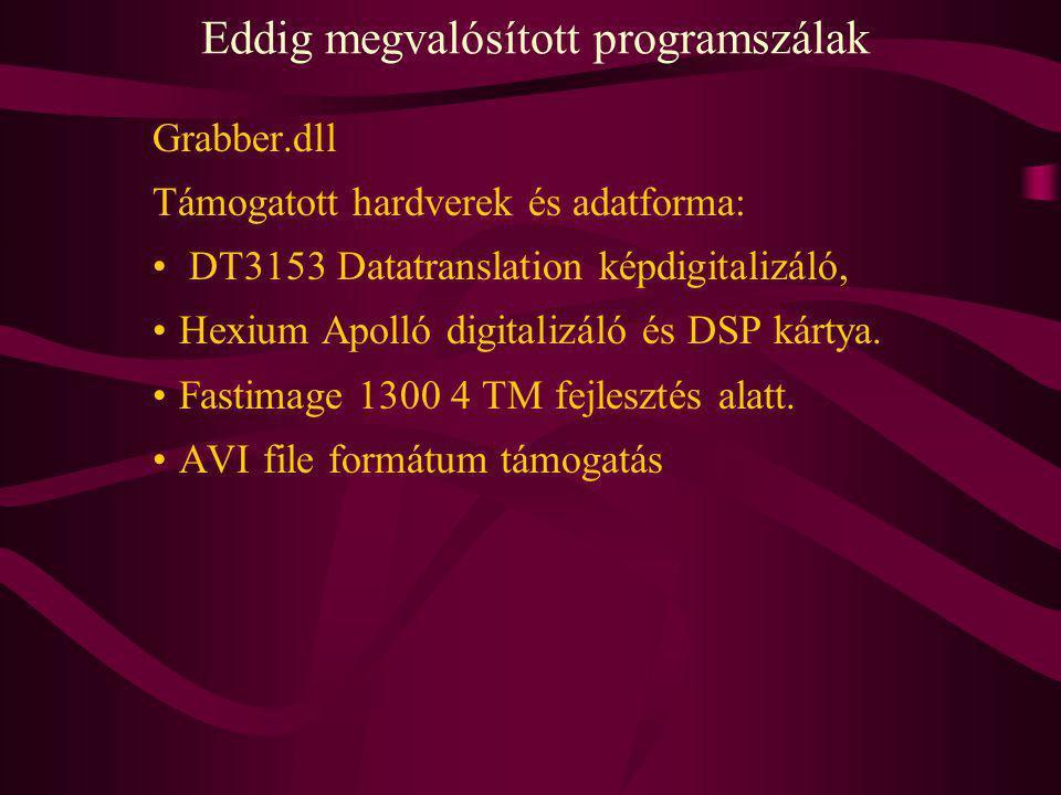 Eddig megvalósított programszálak Grabber.dll Támogatott hardverek és adatforma: DT3153 Datatranslation képdigitalizáló, Hexium Apolló digitalizáló és