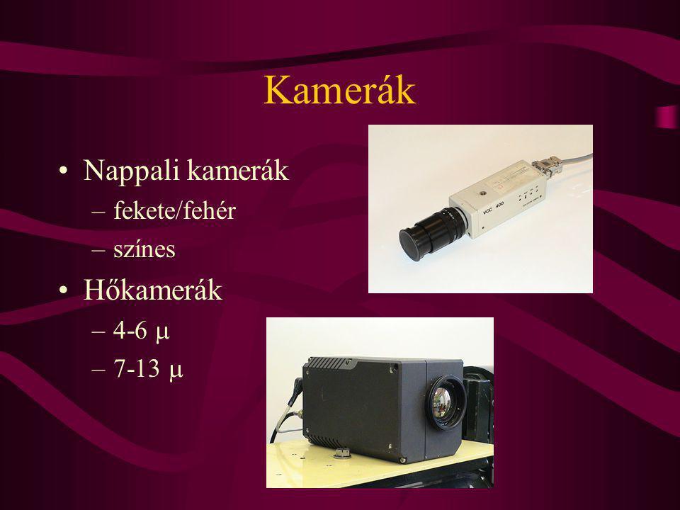 Kamerák Nappali kamerák –fekete/fehér –színes Hőkamerák –4-6  –7-13 
