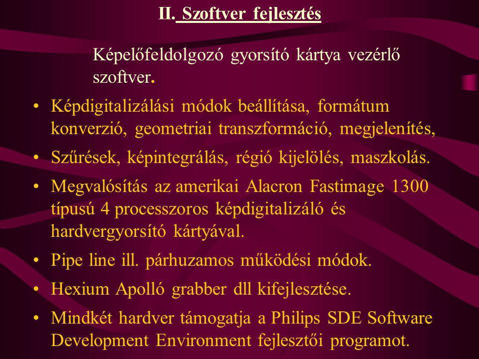 II. Szoftver fejlesztés Képelőfeldolgozó gyorsító kártya vezérlő szoftver. Képdigitalizálási módok beállítása, formátum konverzió, geometriai transzfo
