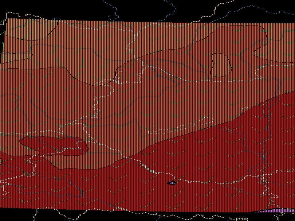 15 A delta algoritmussal kapott eredmények A 950 hPa-os hőmérsékleti mező (folytonos vonalak) és a relatív nedvességi mező (színezett mezők) a MEANDER rendszer alaprácsán