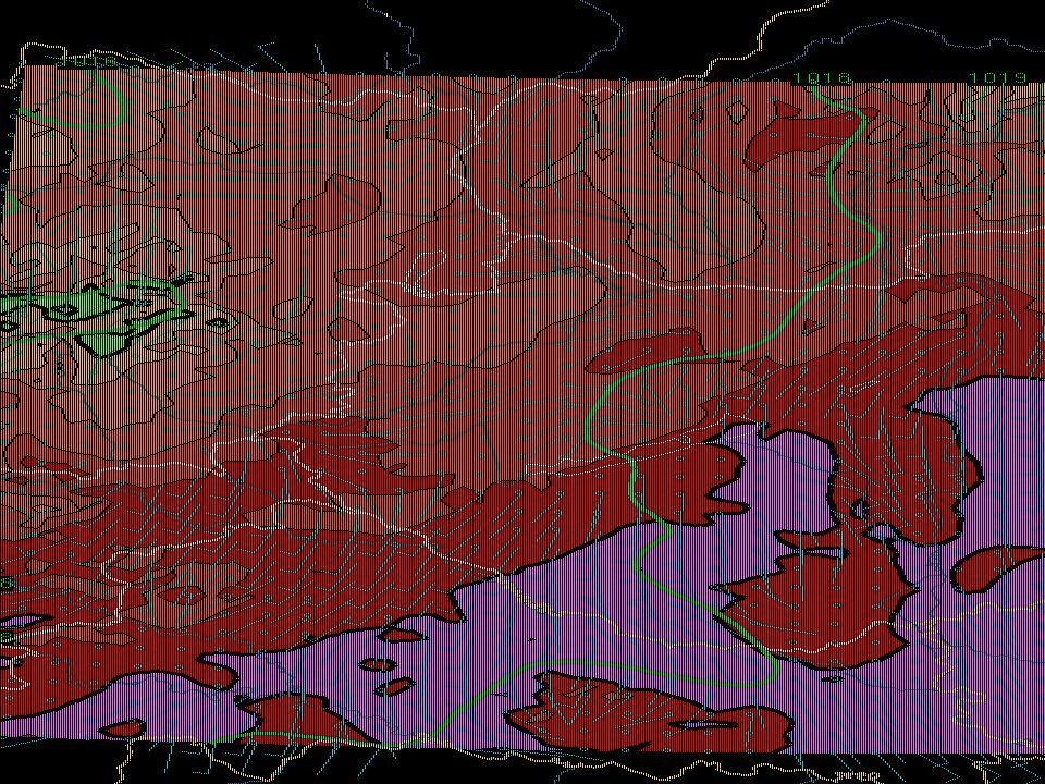 9 A CANARI algoritmussal kapott eredmények Felszíni relatív nedvesség (a sötétebb tónusú mezők a nedvesebb területeket jelölik) 10 m-es szélmező a MEANDER rendszer alaprácsán