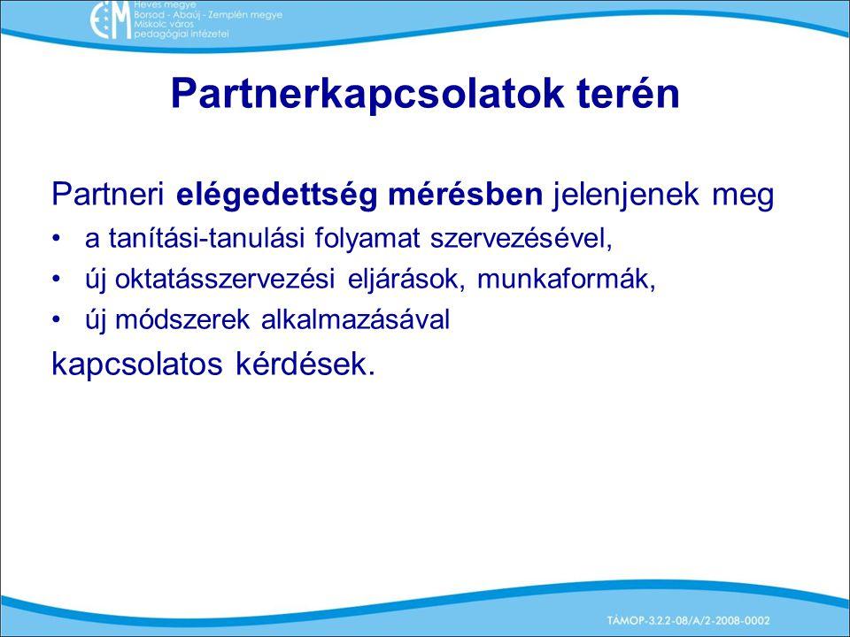 Partnerkapcsolatok terén Partneri elégedettség mérésben jelenjenek meg a tanítási-tanulási folyamat szervezésével, új oktatásszervezési eljárások, munkaformák, új módszerek alkalmazásával kapcsolatos kérdések.