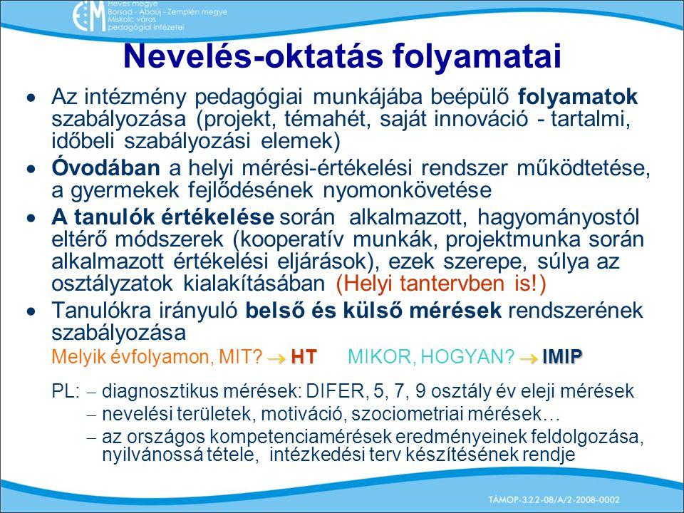Nevelés-oktatás folyamatai  Az intézmény pedagógiai munkájába beépülő folyamatok szabályozása (projekt, témahét, saját innováció - tartalmi, időbeli