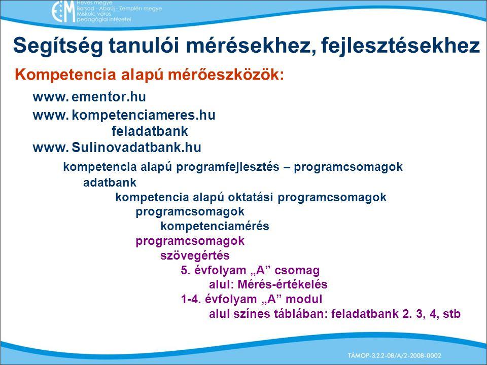 Segítség tanulói mérésekhez, fejlesztésekhez Kompetencia alapú mérőeszközök: www. ementor.hu www. kompetenciameres.hu feladatbank www. Sulinovadatbank