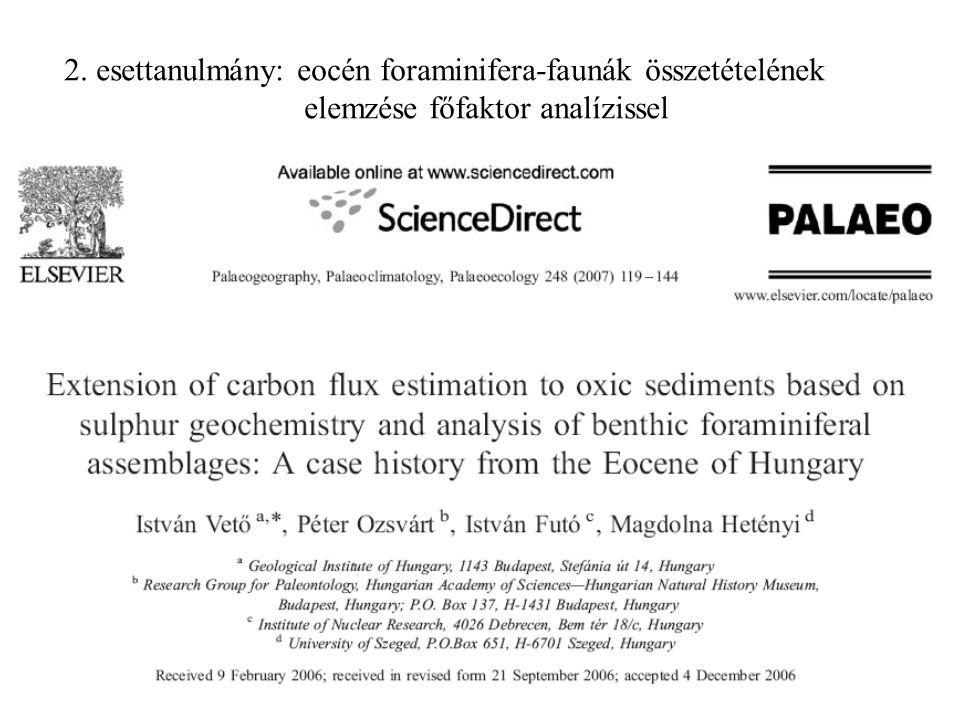 2. esettanulmány: eocén foraminifera-faunák összetételének elemzése főfaktor analízissel