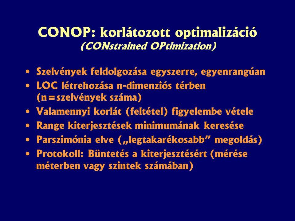 """CONOP: korlátozott optimalizáció (CONstrained OPtimization) Szelvények feldolgozása egyszerre, egyenrangúan LOC létrehozása n-dimenziós térben (n=szelvények száma) Valamennyi korlát (feltétel) figyelembe vétele Range kiterjesztések minimumának keresése Parszimónia elve (""""legtakarékosabb megoldás) Protokoll: Büntetés a kiterjesztésért (mérése méterben vagy szintek számában)"""