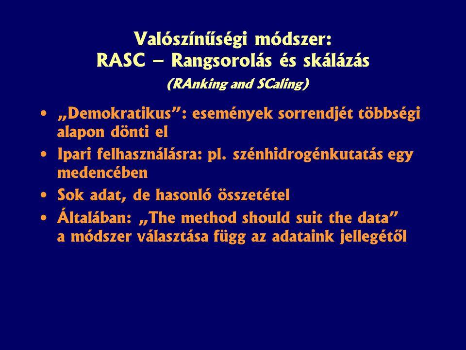 """Valószínűségi módszer: RASC – Rangsorolás és skálázás (RAnking and SCaling) """"Demokratikus : események sorrendjét többségi alapon dönti el Ipari felhasználásra: pl."""