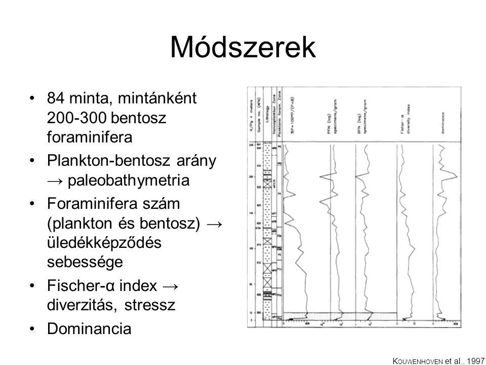 Módszerek 84 minta, mintánként 200-300 bentosz foraminifera Plankton-bentosz arány → paleobathymetria Foraminifera szám (plankton és bentosz) → üledékképződés sebessége Fischer-α index → diverzitás, stressz Dominancia K OUWENHOVEN et al., 1997