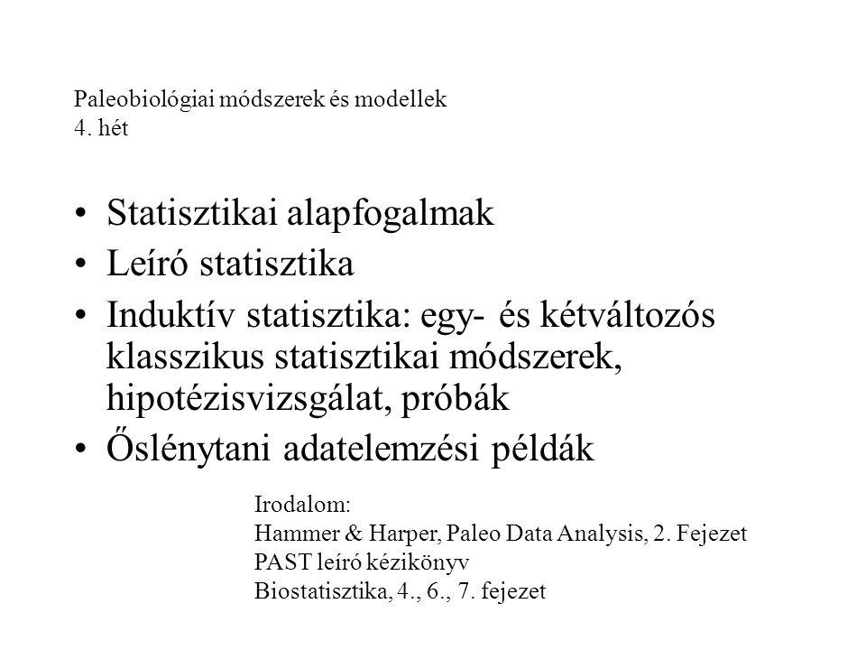 Statisztika A természeti tárgyak és jelenségek számszerű adatainak tudományos vizsgálata Alapfogalmak: adat: egy észlelés, mérés változó: amit észlelünk, mérünk minta: az észlelések, mérések halmaza, kiválasztása meghatározott módszerrel történhet alapsokaság, statisztikai populáció: amiből a mintát vettük és amire nézve próbálunk következtetni