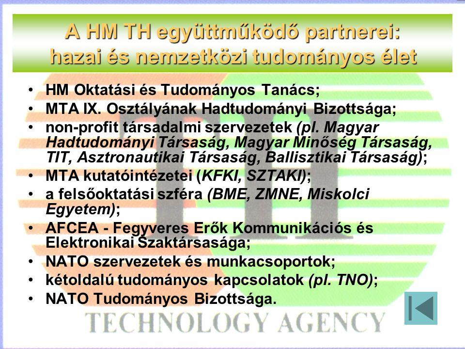 A HM TH együttműködő partnerei: hazai és nemzetközi tudományos élet HM Oktatási és Tudományos Tanács; MTA IX.