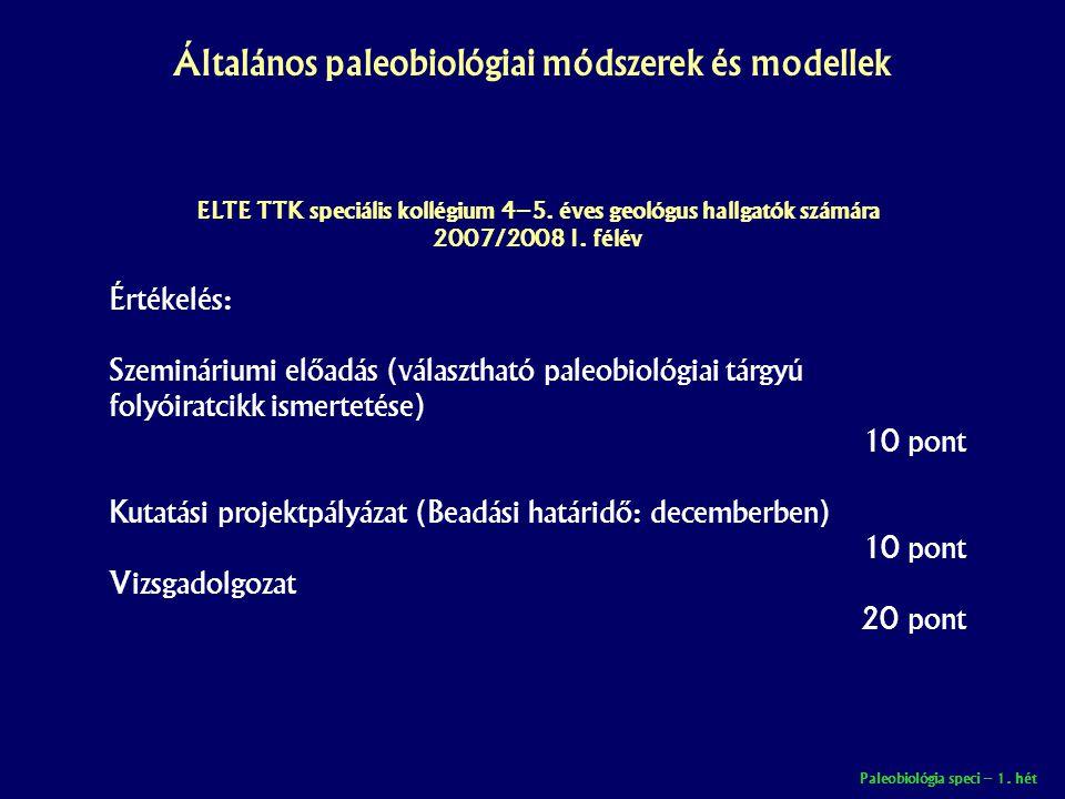 Paleobiológia speci – 1.