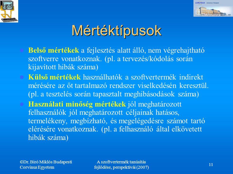 ©Dr. Biró Miklós Budapesti Corvinus Egyetem A szoftvertermék tanúsítás fejlődése, perspektívái (2007) 11 Mértéktípusok Belső mértékek a fejlesztés ala