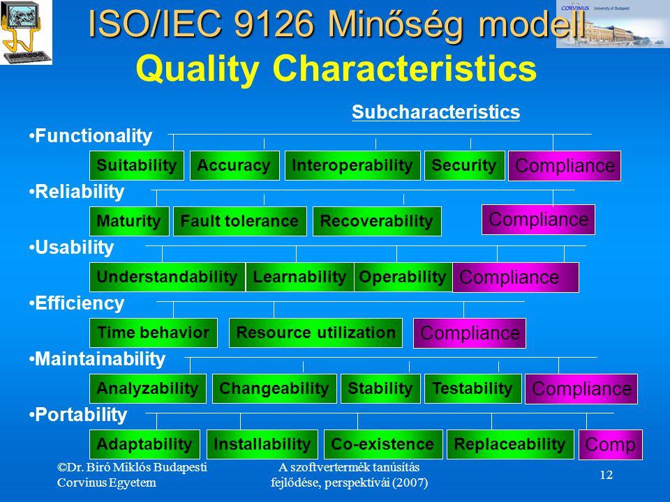 ©Dr. Biró Miklós Budapesti Corvinus Egyetem A szoftvertermék tanúsítás fejlődése, perspektívái (2007) 12 ISO/IEC 9126 Minőség modell ISO/IEC 9126 Minő