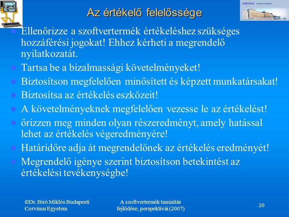 ©Dr. Biró Miklós Budapesti Corvinus Egyetem A szoftvertermék tanúsítás fejlődése, perspektívái (2007) 20 Az értékelő felelőssége Ellenőrizze a szoftve