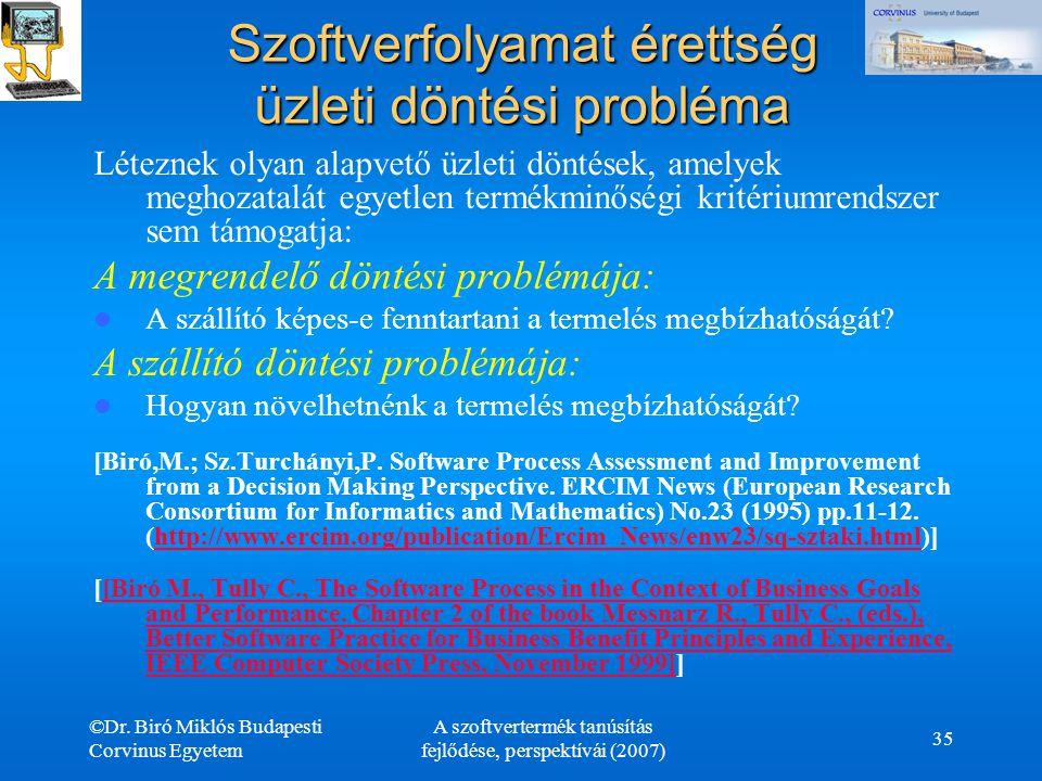 ©Dr. Biró Miklós Budapesti Corvinus Egyetem A szoftvertermék tanúsítás fejlődése, perspektívái (2007) 35 Szoftverfolyamat érettség üzleti döntési prob
