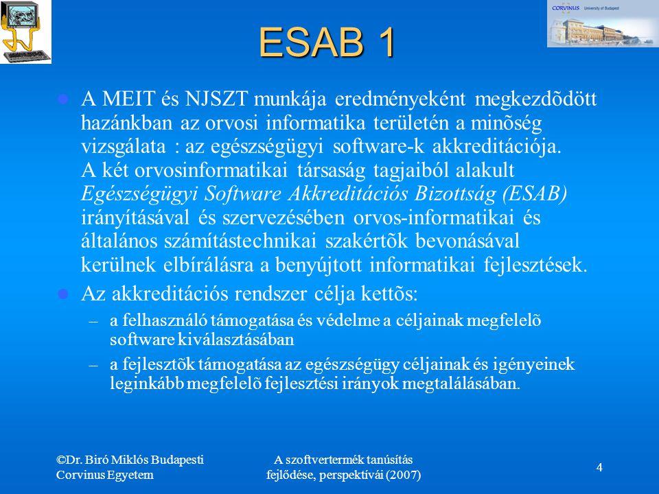 ©Dr. Biró Miklós Budapesti Corvinus Egyetem A szoftvertermék tanúsítás fejlődése, perspektívái (2007) 4 ESAB 1 A MEIT és NJSZT munkája eredményeként m