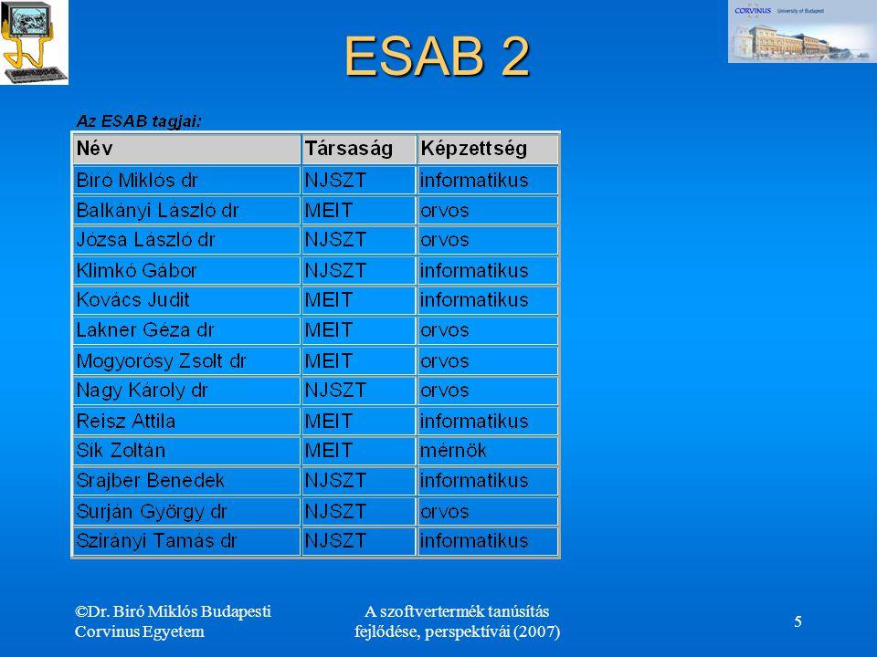 ©Dr. Biró Miklós Budapesti Corvinus Egyetem A szoftvertermék tanúsítás fejlődése, perspektívái (2007) 5 ESAB 2