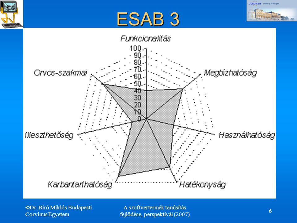 ©Dr. Biró Miklós Budapesti Corvinus Egyetem A szoftvertermék tanúsítás fejlődése, perspektívái (2007) 6 ESAB 3