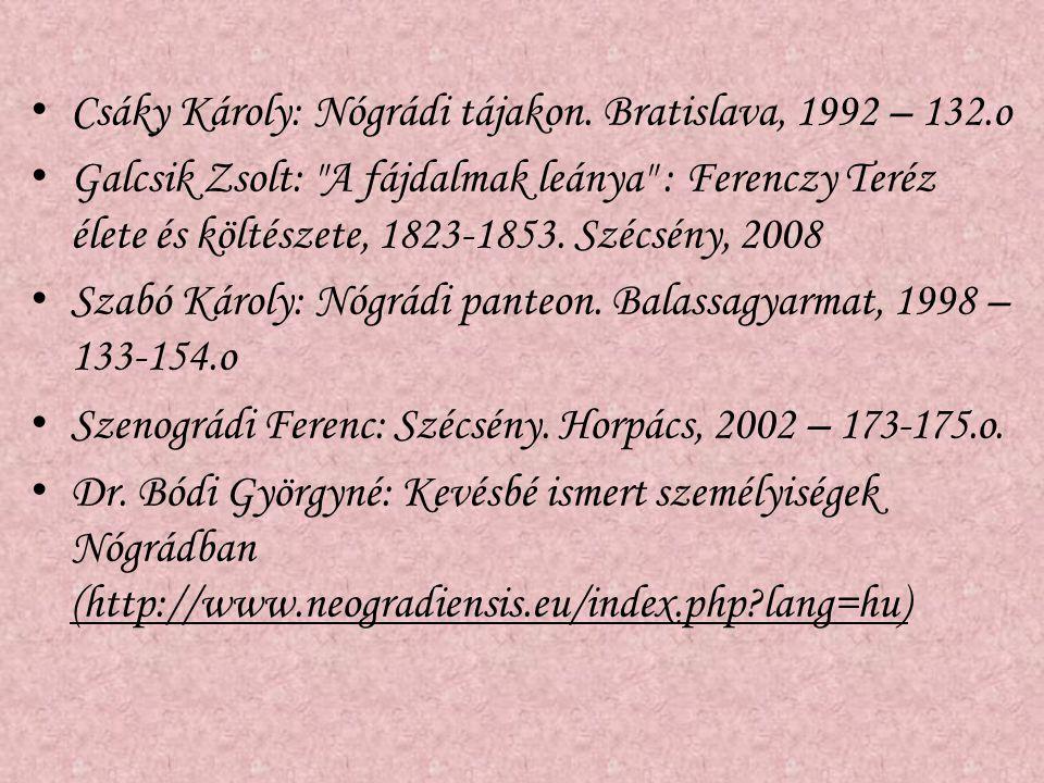 Csáky Károly: Nógrádi tájakon. Bratislava, 1992 – 132.o Galcsik Zsolt: