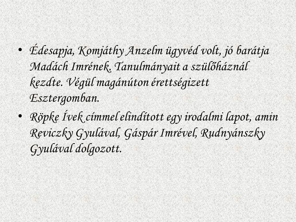 Édesapja, Komjáthy Anzelm ügyvéd volt, jó barátja Madách Imrének. Tanulmányait a szülőháznál kezdte. Végül magánúton érettségizett Esztergomban. Röpke