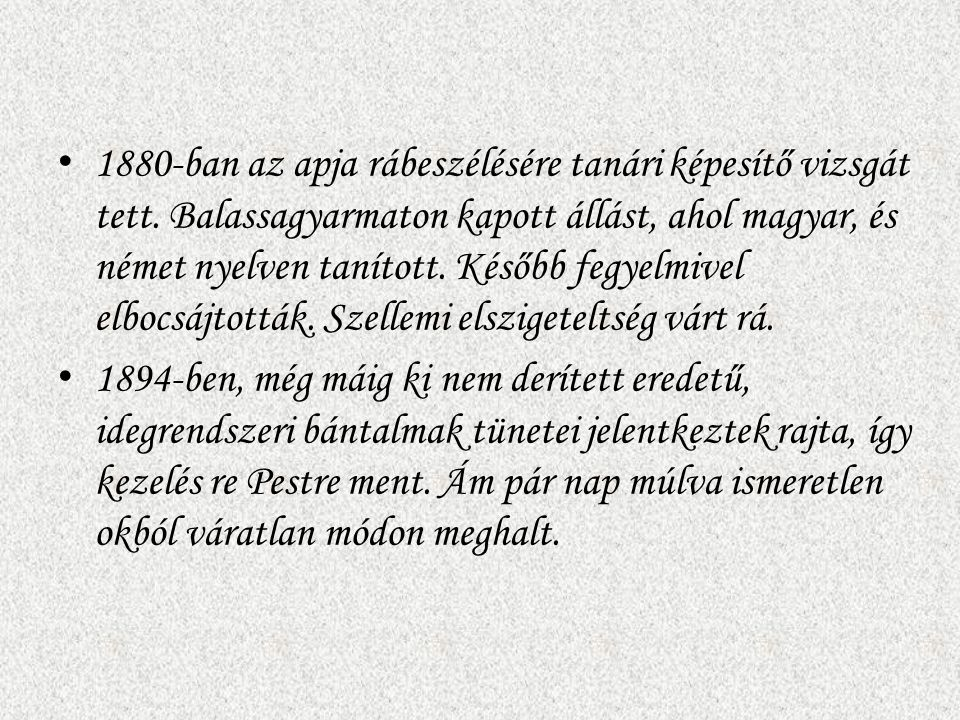1880-ban az apja rábeszélésére tanári képesítő vizsgát tett. Balassagyarmaton kapott állást, ahol magyar, és német nyelven tanított. Később fegyelmive